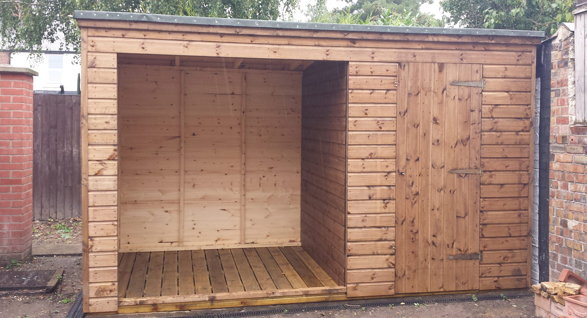 Wooden garden sheds with shelter