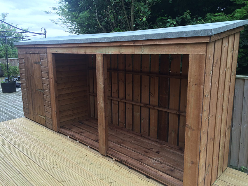 Wooden garden sheds with storage